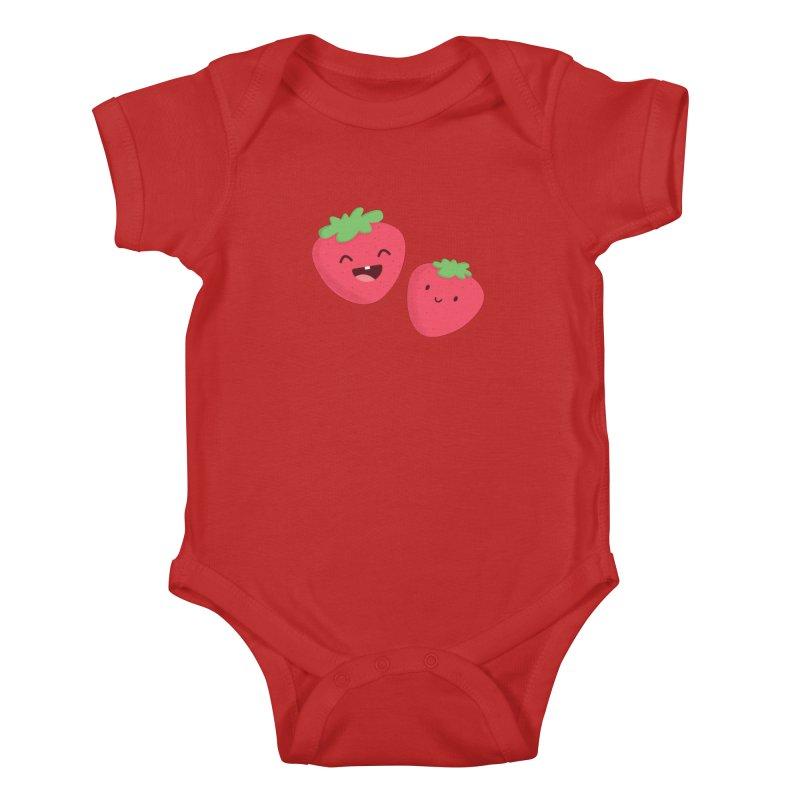 Happy Strawberries Kids Baby Bodysuit by cartoonbeing's Artist Shop