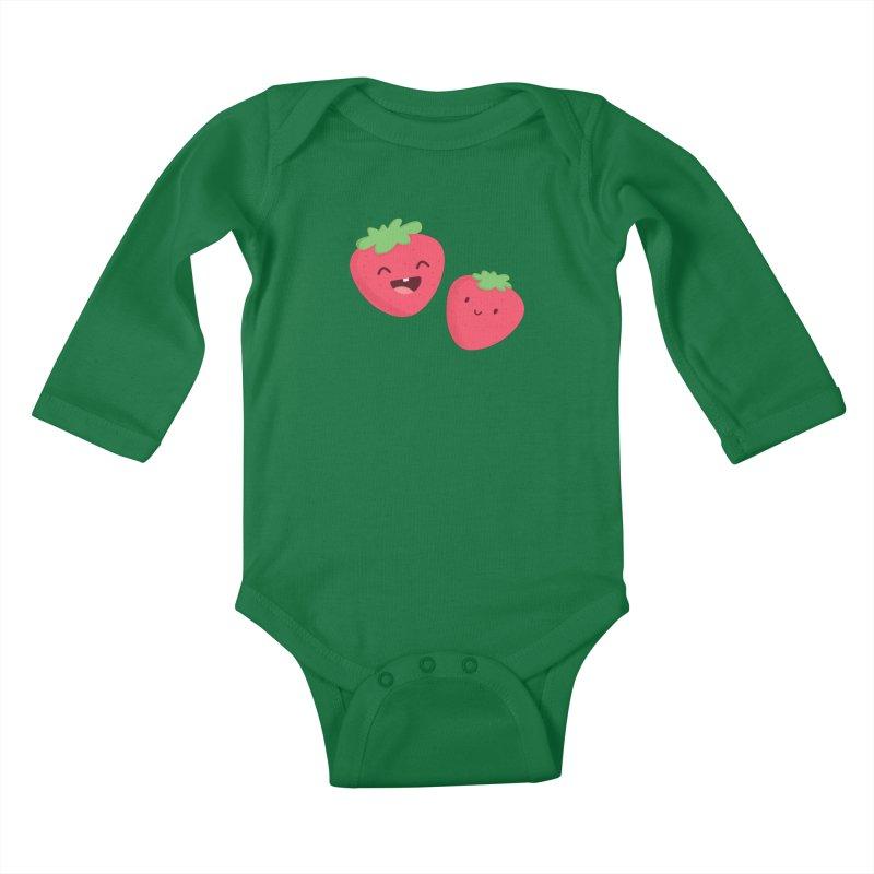 Happy Strawberries Kids Baby Longsleeve Bodysuit by cartoonbeing's Artist Shop