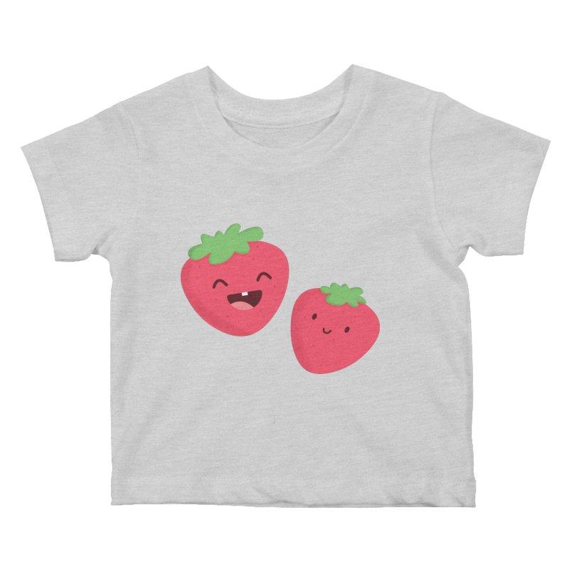 Happy Strawberries Kids Baby T-Shirt by cartoonbeing's Artist Shop