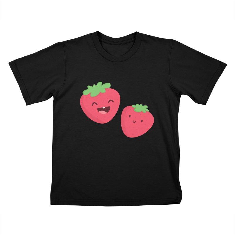 Happy Strawberries Kids T-Shirt by cartoonbeing's Artist Shop