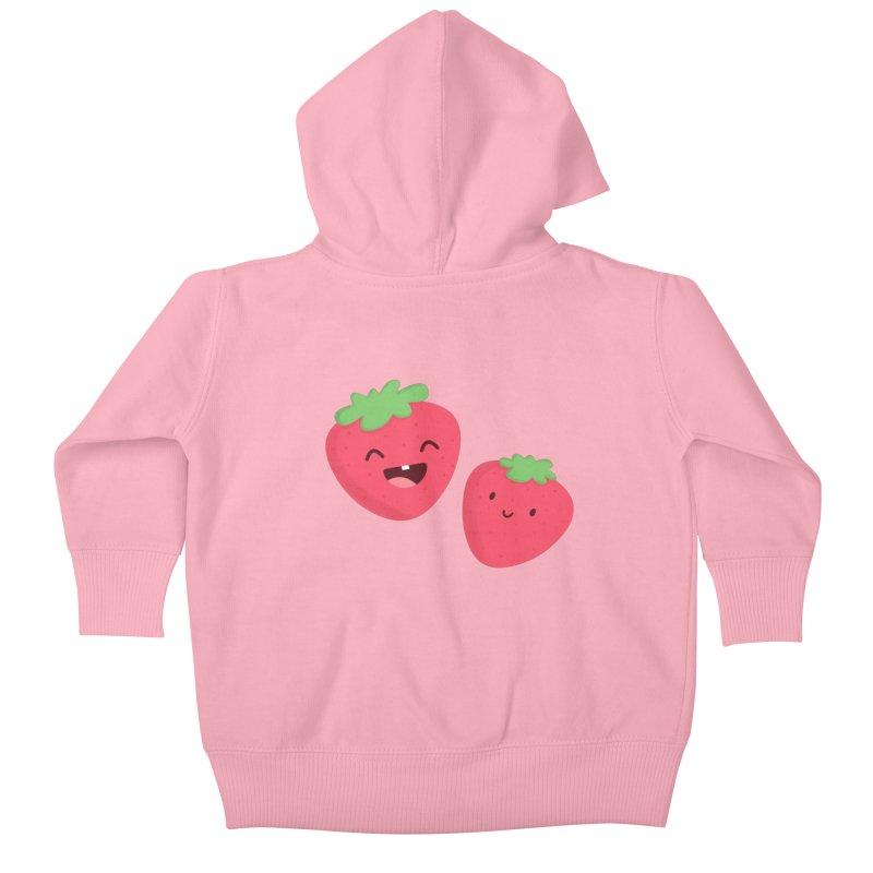 Happy Strawberries Kids Baby Zip-Up Hoody by cartoonbeing's Artist Shop