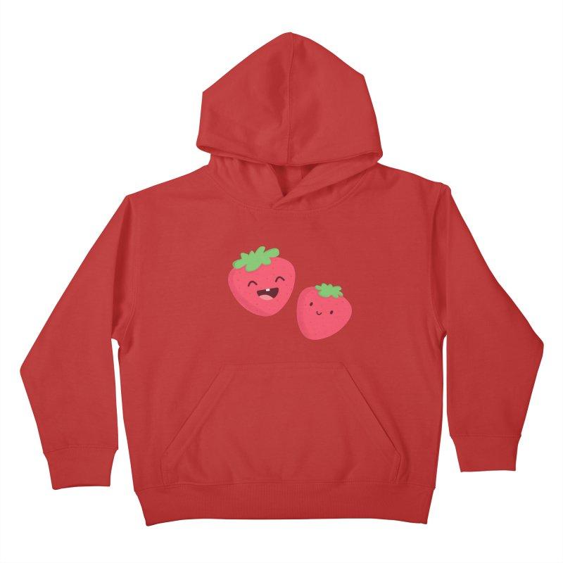 Happy Strawberries Kids Pullover Hoody by cartoonbeing's Artist Shop