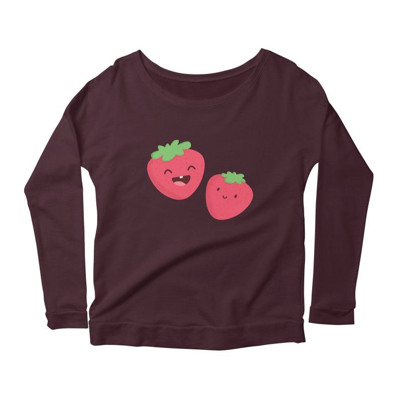 Happy Strawberries Women's Scoop Neck Longsleeve T-Shirt by cartoonbeing's Artist Shop