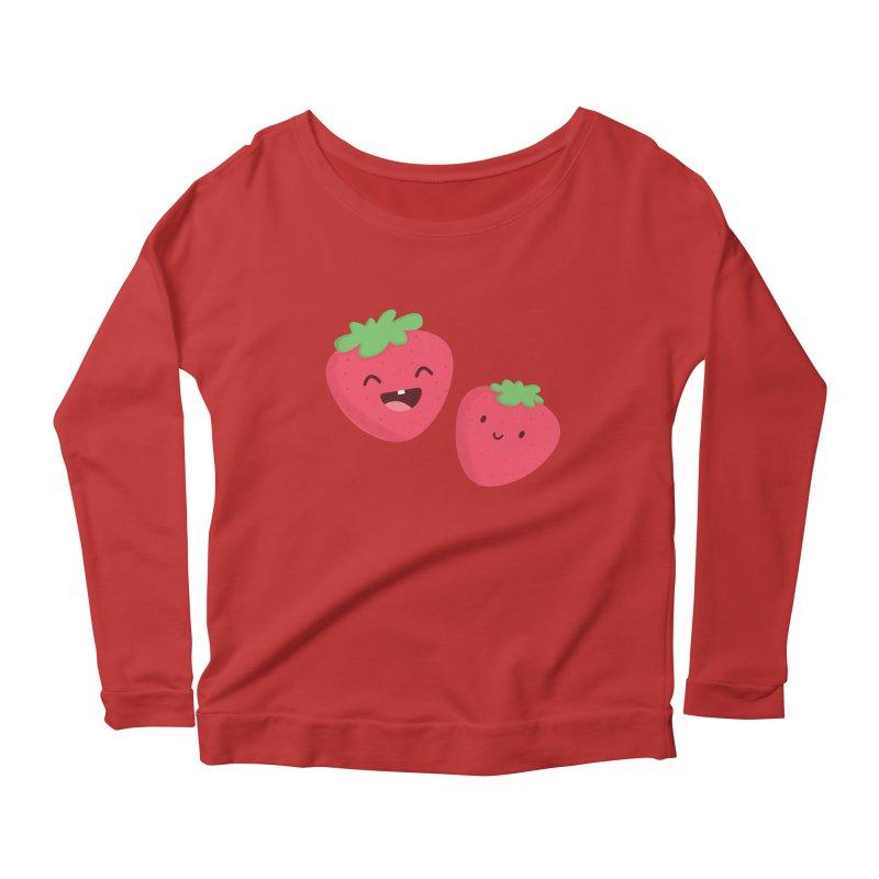 Happy Strawberries Women's Longsleeve Scoopneck  by cartoonbeing's Artist Shop
