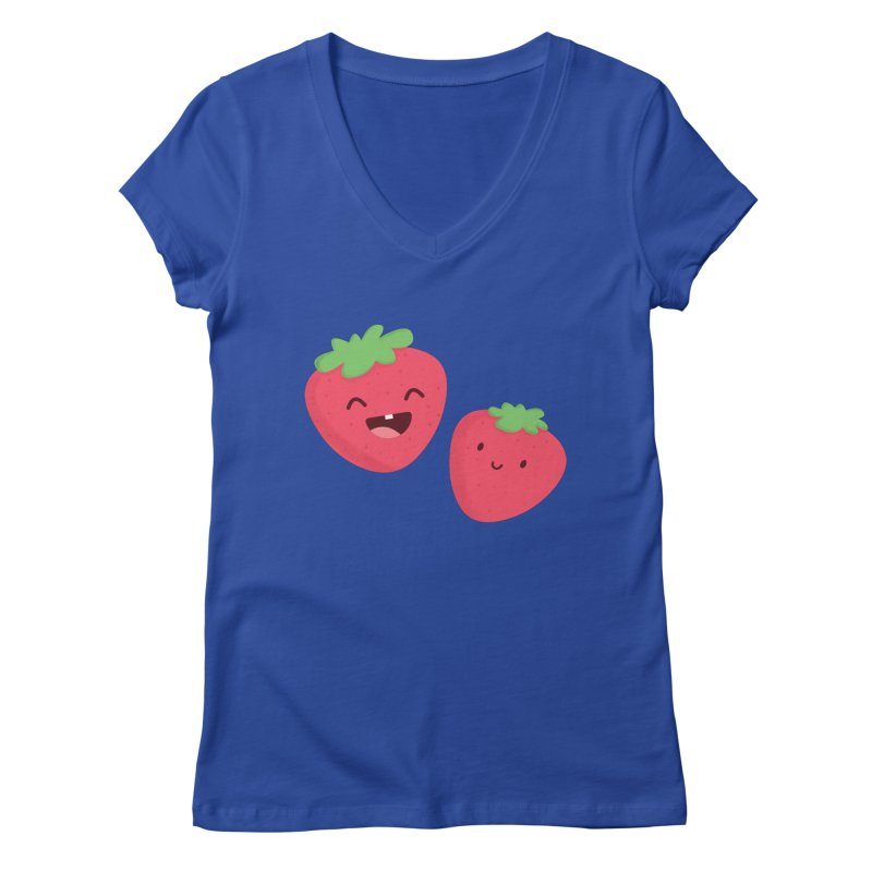 Happy Strawberries Women's Regular V-Neck by cartoonbeing's Artist Shop