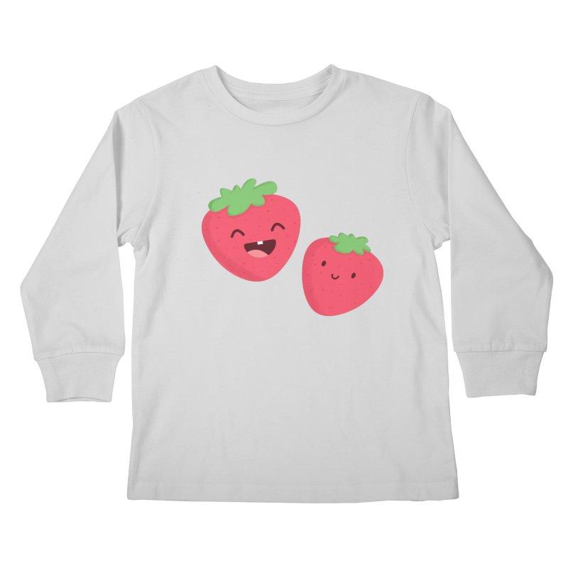 Happy Strawberries Kids Longsleeve T-Shirt by cartoonbeing's Artist Shop
