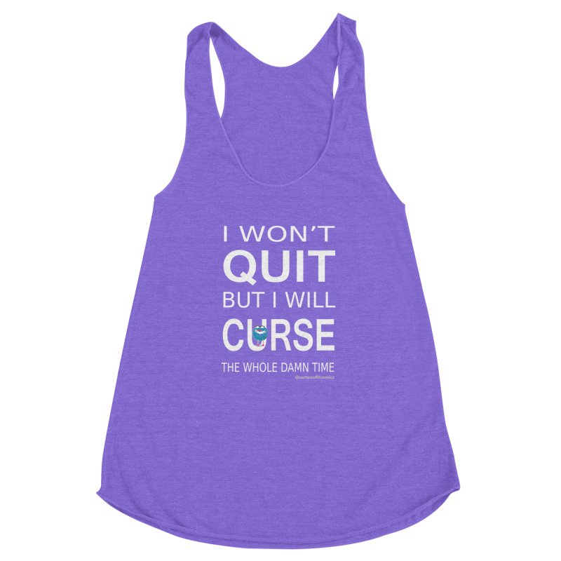 CartoonFit Quitting in Women's Racerback Triblend Tank Tri-Orchid by CartoonFit Comics Shop