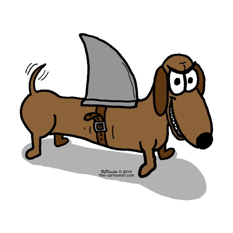 Wiener Dog with a Shark Fin by The Cartoonist's Shop