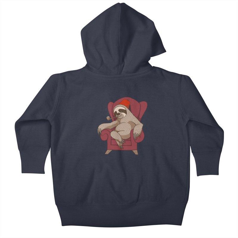 Sophisticated Sloth Kids Baby Zip-Up Hoody by cartoonowl's Artist Shop