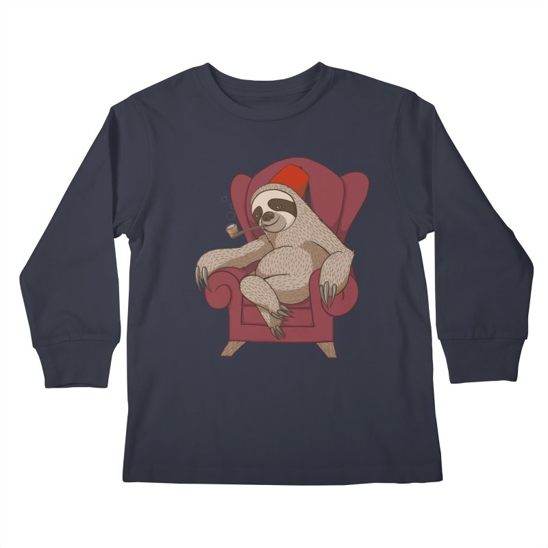 Sophisticated Sloth Kids Longsleeve T-Shirt by cartoonowl's Artist Shop