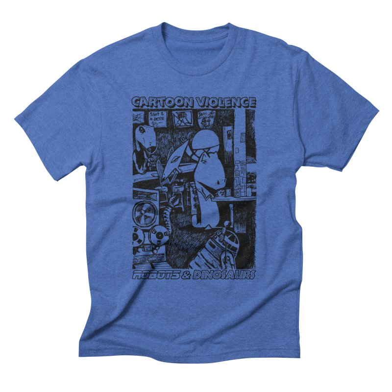 Robots and Dinosaurs (art by Chris Micro) - Black Ink Men's T-Shirt by Shirts by Cartoon Violence