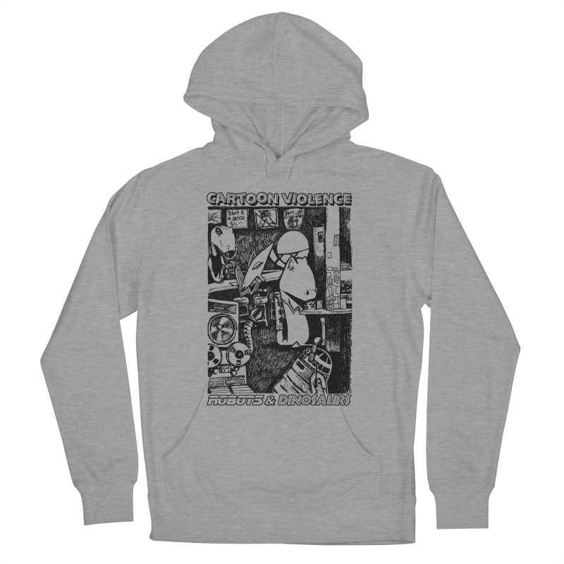 Robots and Dinosaurs (art by Chris Micro) - Black Ink Women's Pullover Hoody by Shirts by Cartoon Violence
