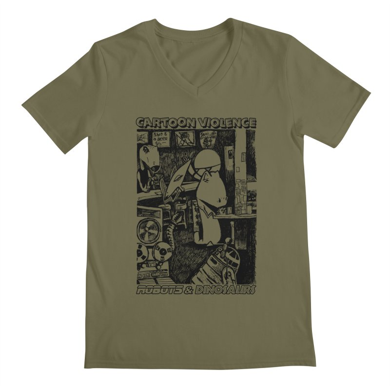Robots and Dinosaurs (art by Chris Micro) - Black Ink Men's V-Neck by Shirts by Cartoon Violence