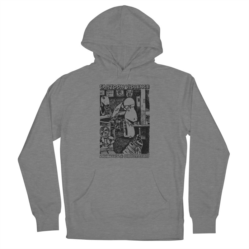 Robots and Dinosaurs (art by Chris Micro) - Black Ink Men's Pullover Hoody by Shirts by Cartoon Violence