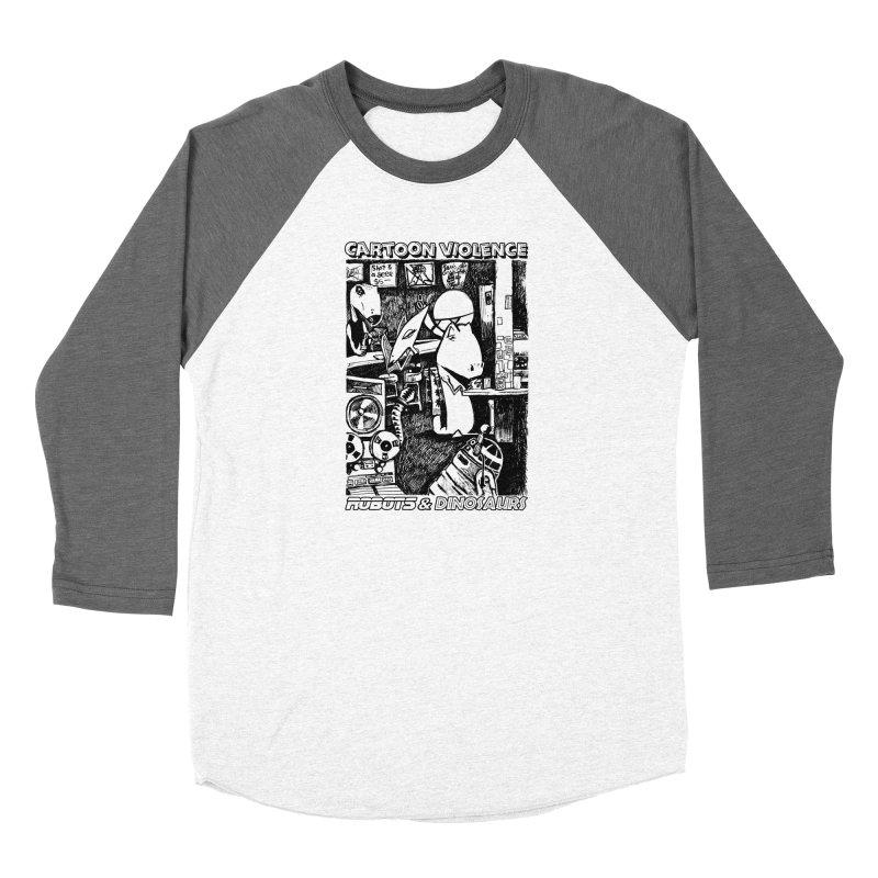 Robots and Dinosaurs (art by Chris Micro) - Black Ink Men's Baseball Triblend Longsleeve T-Shirt by Shirts by Cartoon Violence