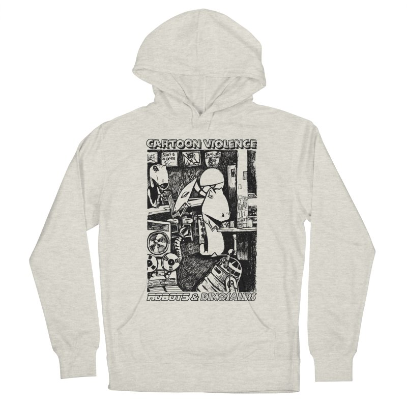 Robots and Dinosaurs (art by Chris Micro) - Black Ink Women's French Terry Pullover Hoody by Shirts by Cartoon Violence