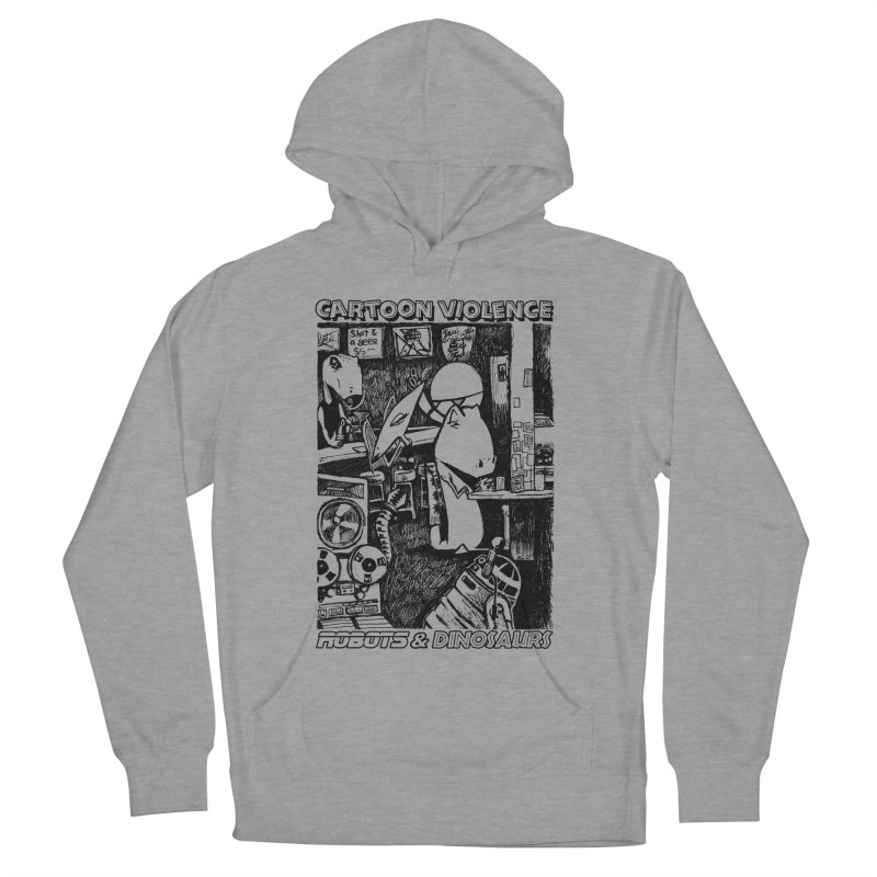 Robots and Dinosaurs (art by Chris Micro) - Black Ink Men's French Terry Pullover Hoody by Shirts by Cartoon Violence