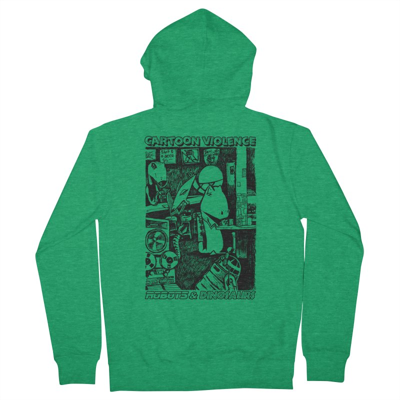 Robots and Dinosaurs (art by Chris Micro) - Black Ink Women's Zip-Up Hoody by Shirts by Cartoon Violence