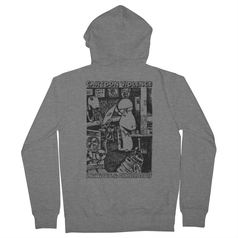 Robots and Dinosaurs (art by Chris Micro) - Black Ink Women's French Terry Zip-Up Hoody by Shirts by Cartoon Violence