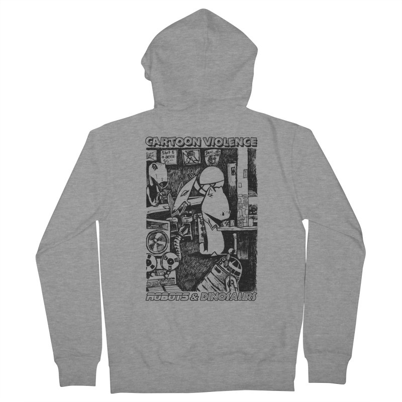 Robots and Dinosaurs (art by Chris Micro) - Black Ink Men's French Terry Zip-Up Hoody by Shirts by Cartoon Violence