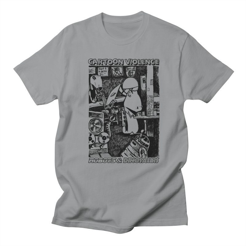 Robots and Dinosaurs (art by Chris Micro) - Black Ink Men's Regular T-Shirt by Shirts by Cartoon Violence