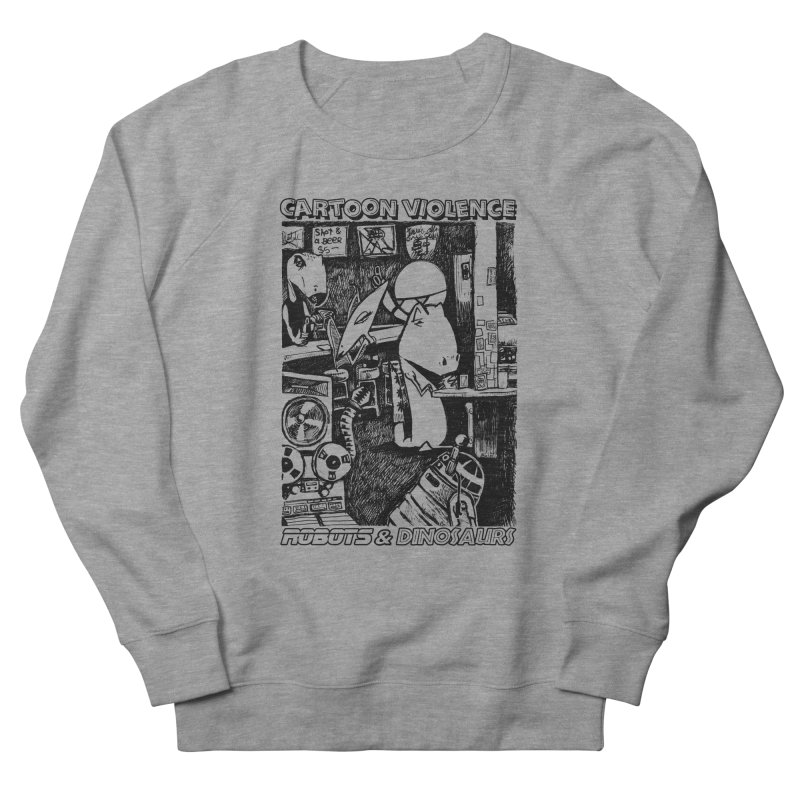 Robots and Dinosaurs (art by Chris Micro) - Black Ink Women's French Terry Sweatshirt by Shirts by Cartoon Violence