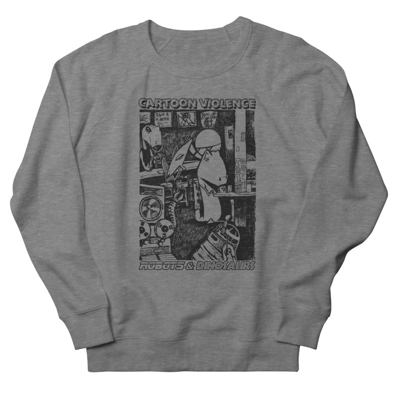 Robots and Dinosaurs (art by Chris Micro) - Black Ink Men's Sweatshirt by Shirts by Cartoon Violence