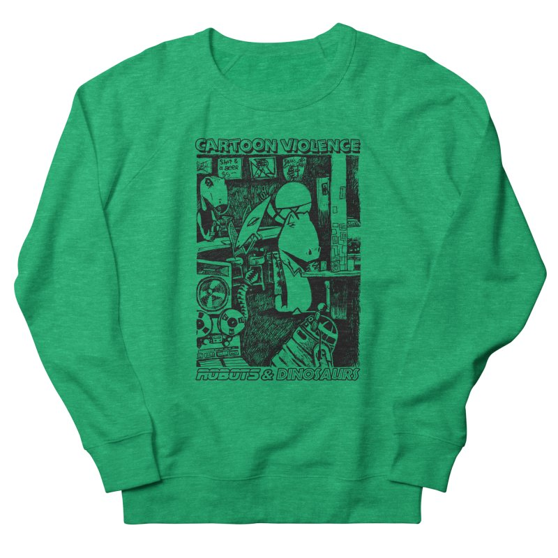 Robots and Dinosaurs (art by Chris Micro) - Black Ink Men's French Terry Sweatshirt by Shirts by Cartoon Violence