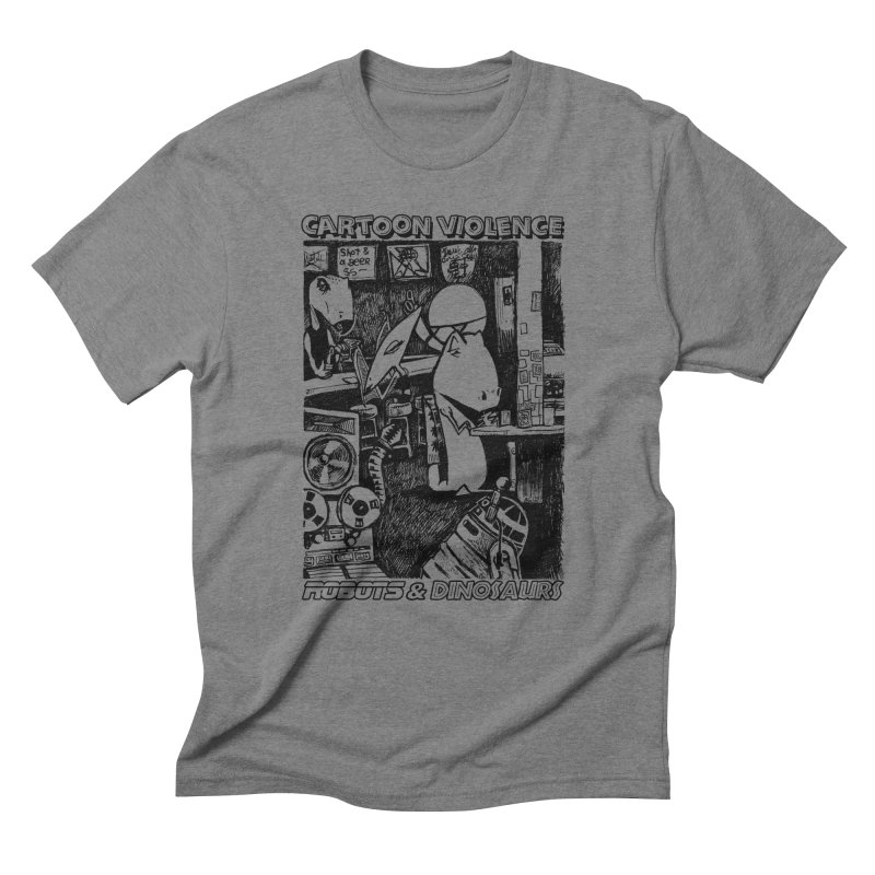 Robots and Dinosaurs (art by Chris Micro) - Black Ink Men's Triblend T-Shirt by Shirts by Cartoon Violence
