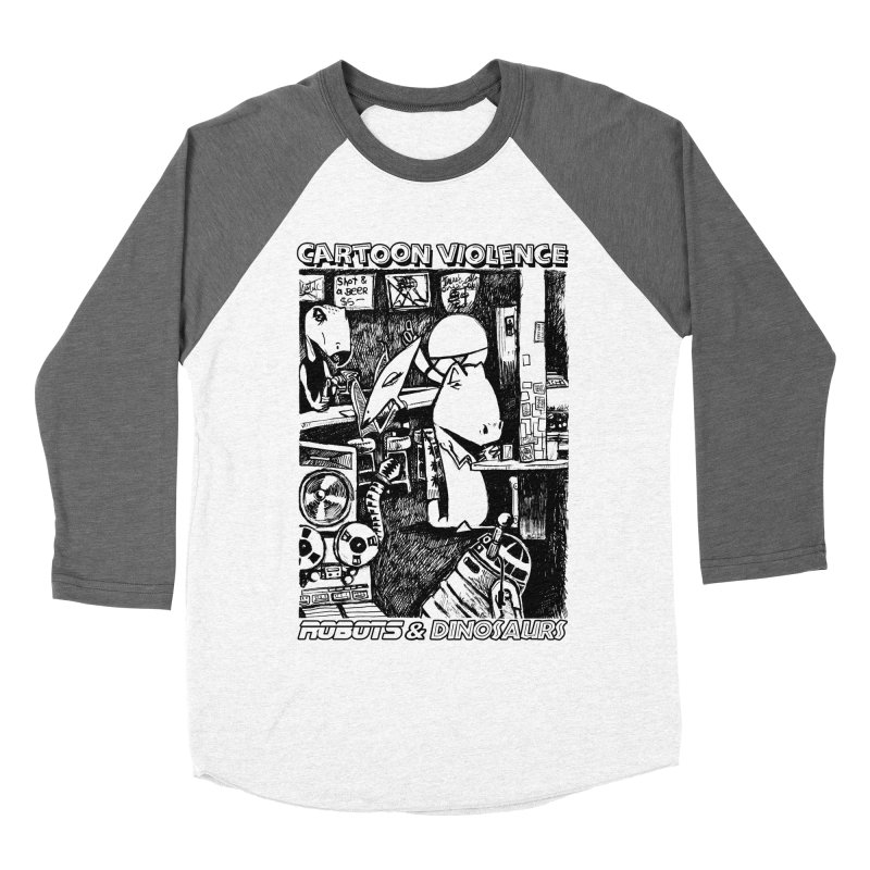 Robots and Dinosaurs (art by Chris Micro) - Black Ink Women's Baseball Triblend Longsleeve T-Shirt by Shirts by Cartoon Violence
