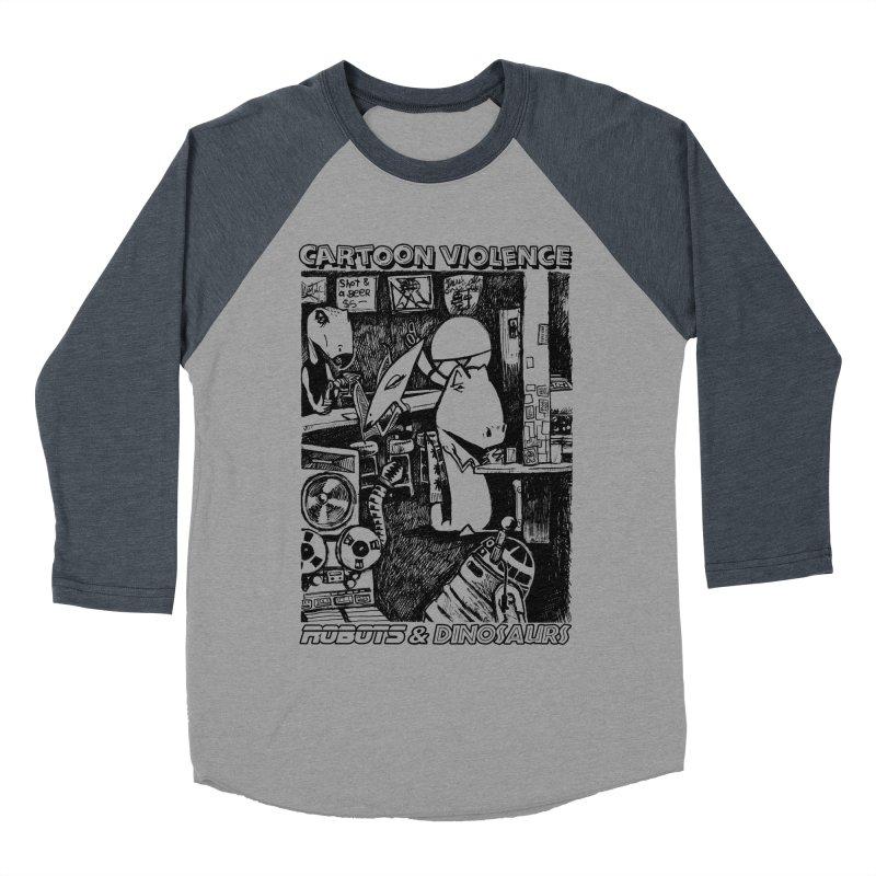 Robots and Dinosaurs (art by Chris Micro) - Black Ink Women's Baseball Triblend Longsleeve T-Shirt by Shirts by Cartoon Violence