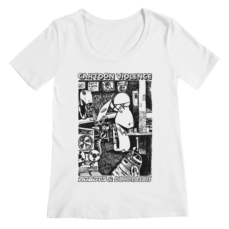 Robots and Dinosaurs (art by Chris Micro) - Black Ink Women's Regular Scoop Neck by Shirts by Cartoon Violence