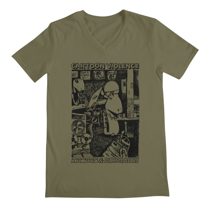 Robots and Dinosaurs (art by Chris Micro) - Black Ink Men's Regular V-Neck by Shirts by Cartoon Violence