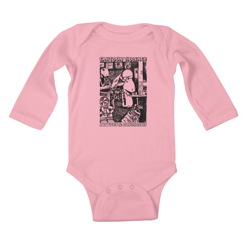 Robots and Dinosaurs (art by Chris Micro) - Black Ink Kids Baby Longsleeve Bodysuit by Shirts by Cartoon Violence