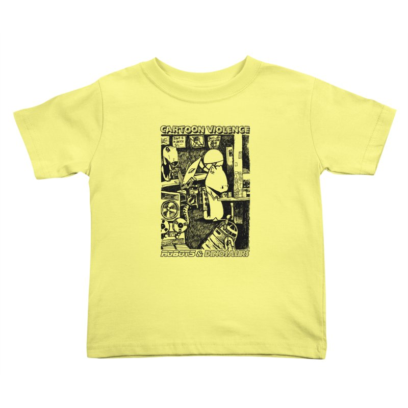 Robots and Dinosaurs (art by Chris Micro) - Black Ink Kids Toddler T-Shirt by Shirts by Cartoon Violence