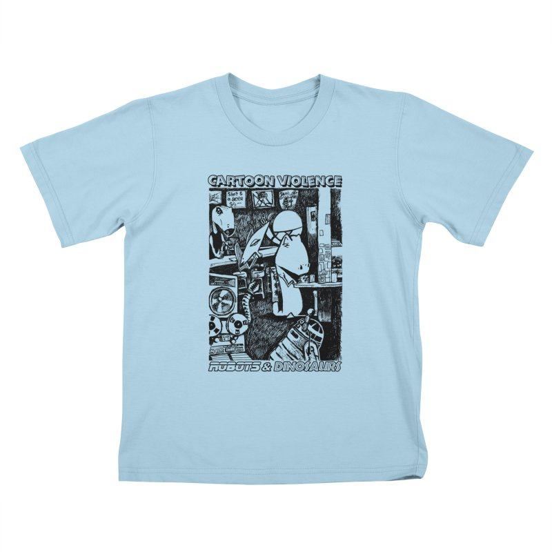 Robots and Dinosaurs (art by Chris Micro) - Black Ink Kids T-Shirt by Shirts by Cartoon Violence