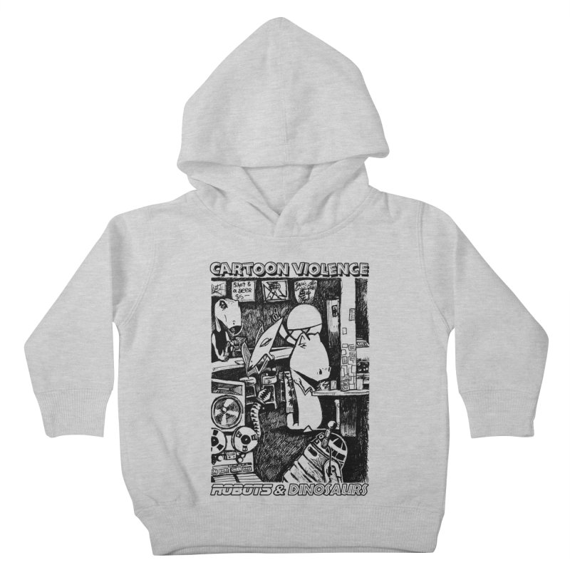 Robots and Dinosaurs (art by Chris Micro) - Black Ink Kids Toddler Pullover Hoody by Shirts by Cartoon Violence