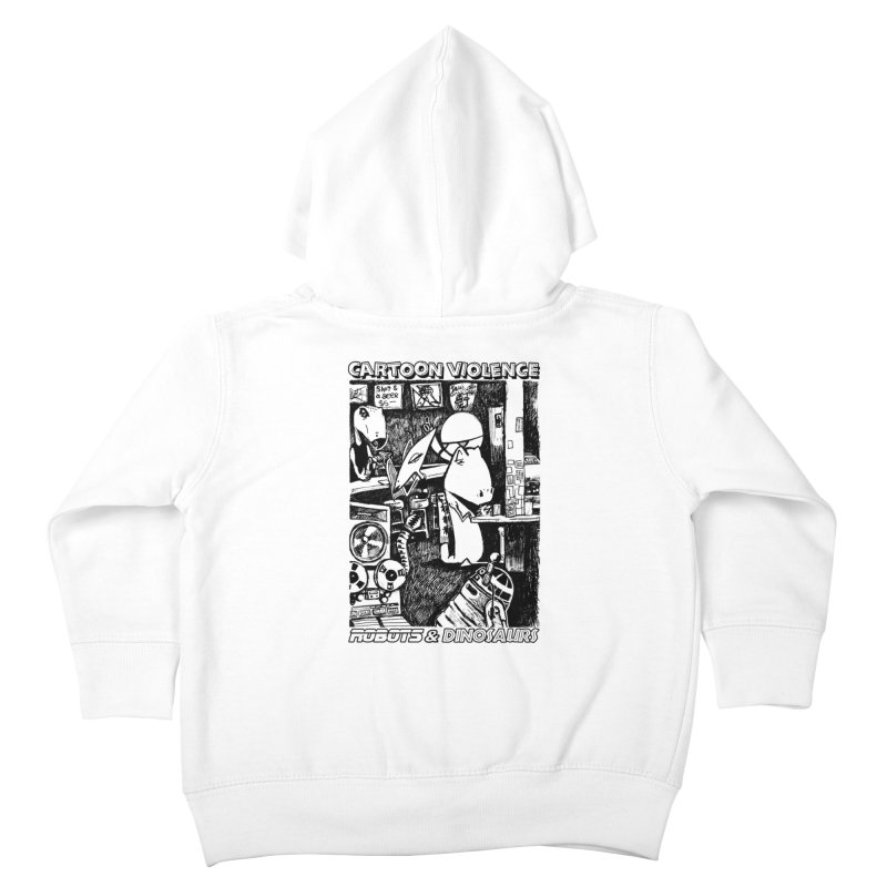 Robots and Dinosaurs (art by Chris Micro) - Black Ink Kids Toddler Zip-Up Hoody by Shirts by Cartoon Violence