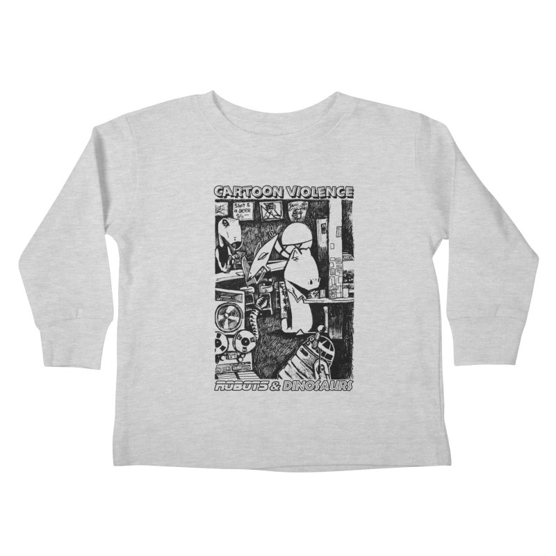 Robots and Dinosaurs (art by Chris Micro) - Black Ink Kids Toddler Longsleeve T-Shirt by Shirts by Cartoon Violence
