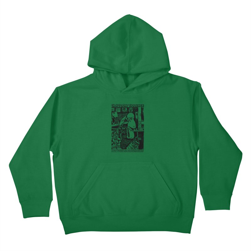 Robots and Dinosaurs (art by Chris Micro) - Black Ink Kids Pullover Hoody by Shirts by Cartoon Violence