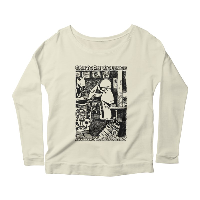 Robots and Dinosaurs (art by Chris Micro) - Black Ink Women's Scoop Neck Longsleeve T-Shirt by Shirts by Cartoon Violence