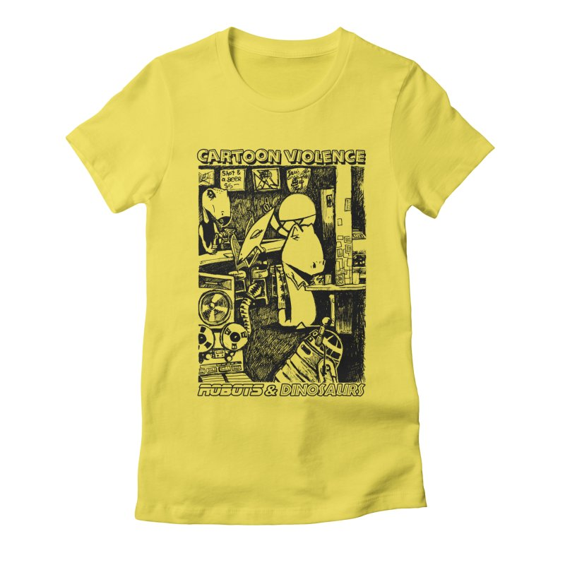 Robots and Dinosaurs (art by Chris Micro) - Black Ink Women's T-Shirt by Shirts by Cartoon Violence