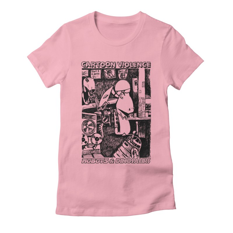 Robots and Dinosaurs (art by Chris Micro) - Black Ink Women's Fitted T-Shirt by Shirts by Cartoon Violence