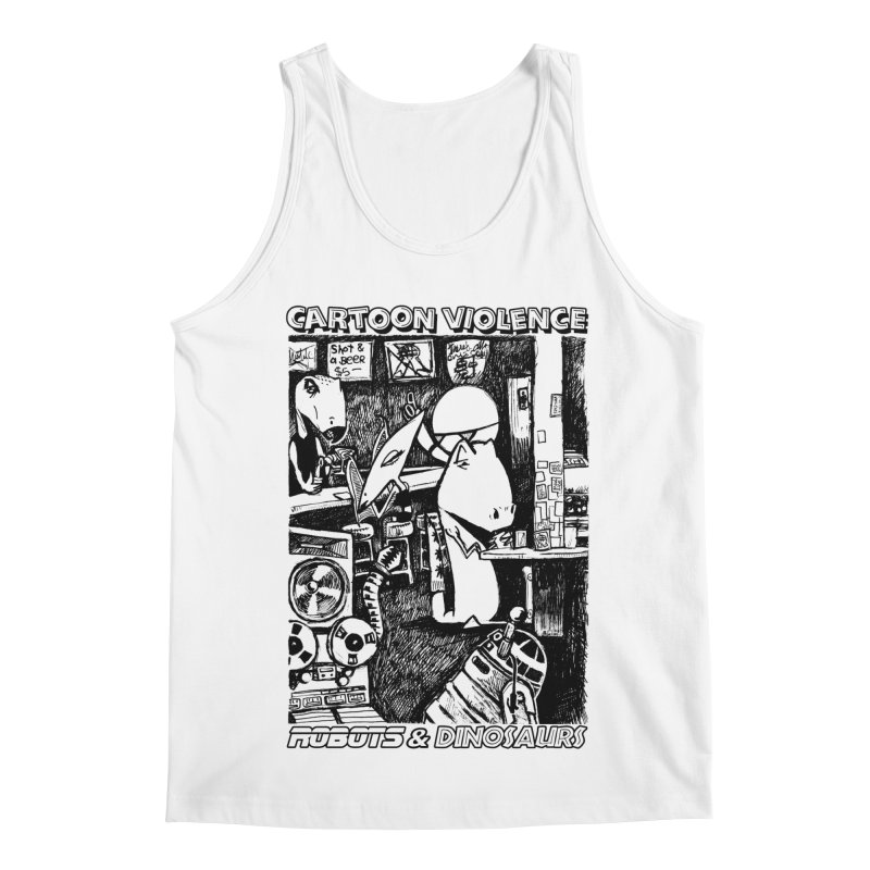 Robots and Dinosaurs (art by Chris Micro) - Black Ink Men's Regular Tank by Shirts by Cartoon Violence