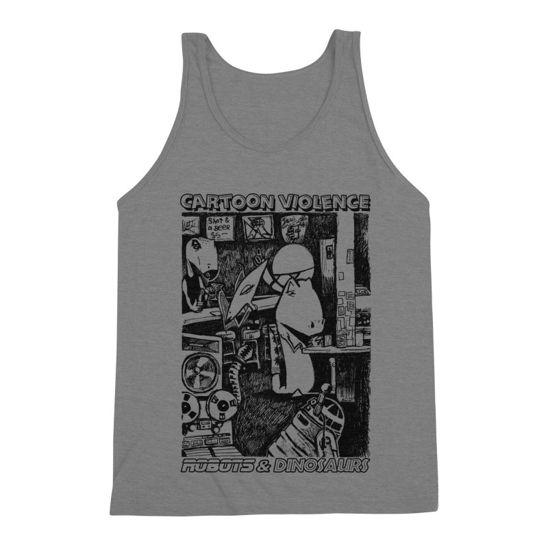 Robots and Dinosaurs (art by Chris Micro) - Black Ink Men's Triblend Tank by Shirts by Cartoon Violence