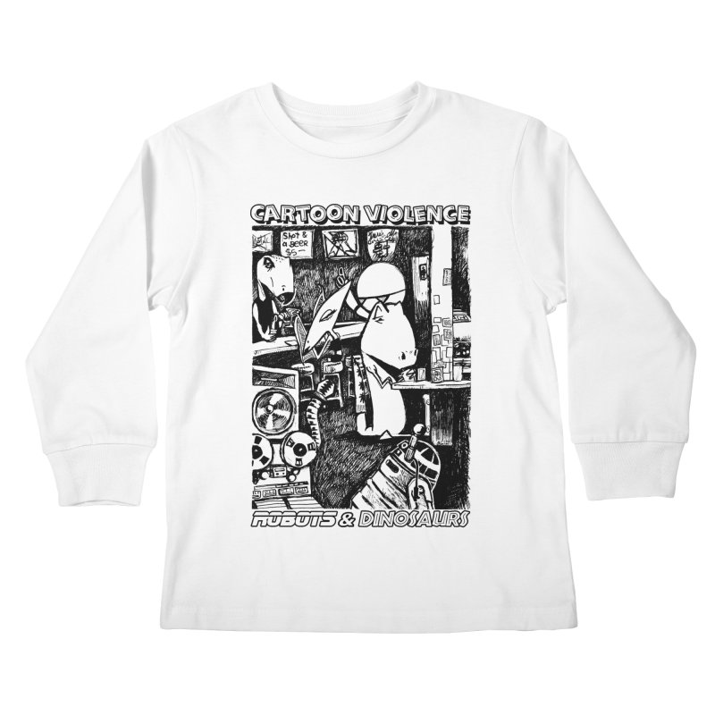 Robots and Dinosaurs (art by Chris Micro) - Black Ink Kids Longsleeve T-Shirt by Shirts by Cartoon Violence