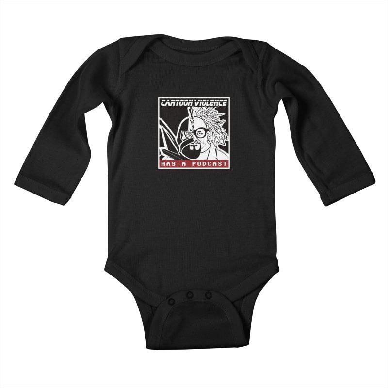 Cartoon Violence Has A Podcast Kids Baby Longsleeve Bodysuit by Shirts by Cartoon Violence
