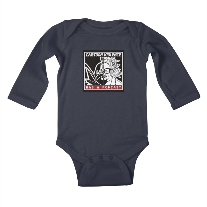 Cartoon Violence Has A Podcast Kids Baby Longsleeve Bodysuit by Shirts by Cartoon Violence
