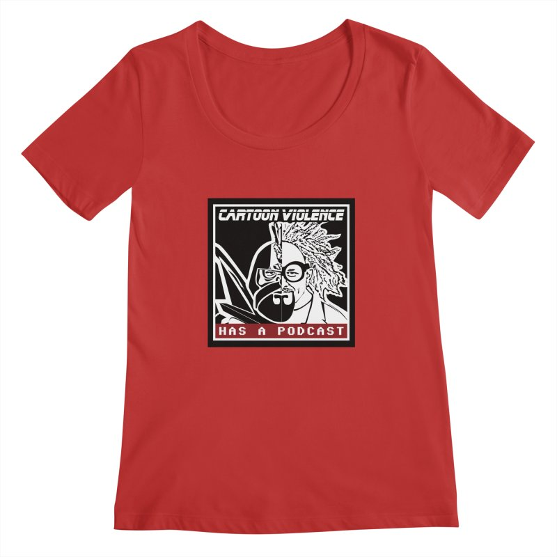 Cartoon Violence Has A Podcast Women's Regular Scoop Neck by Shirts by Cartoon Violence