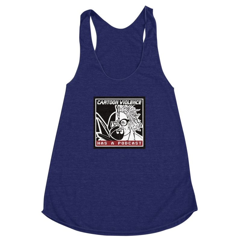 Cartoon Violence Has A Podcast Women's Racerback Triblend Tank by Shirts by Cartoon Violence